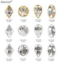 10 pçs/lote, 3d Arte Do Prego De Prata/Liga de Ouro Com Pérolas de Cristal Pedrinhas Dicas Unhas Decorações
