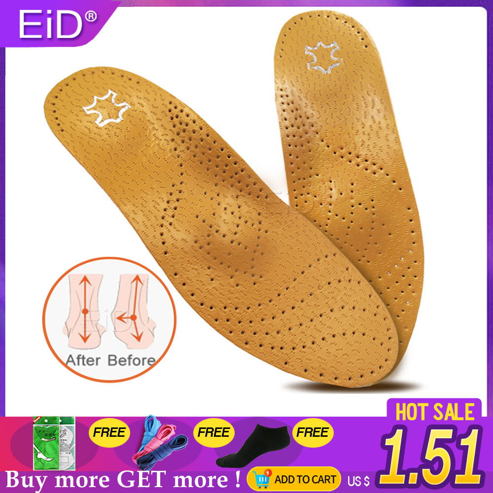EID High Quality Leather Orthotic Insole For Flat Feet Arch Support Orthopedic Shoes Sole Insoles For Feet Men And Women OX Leg