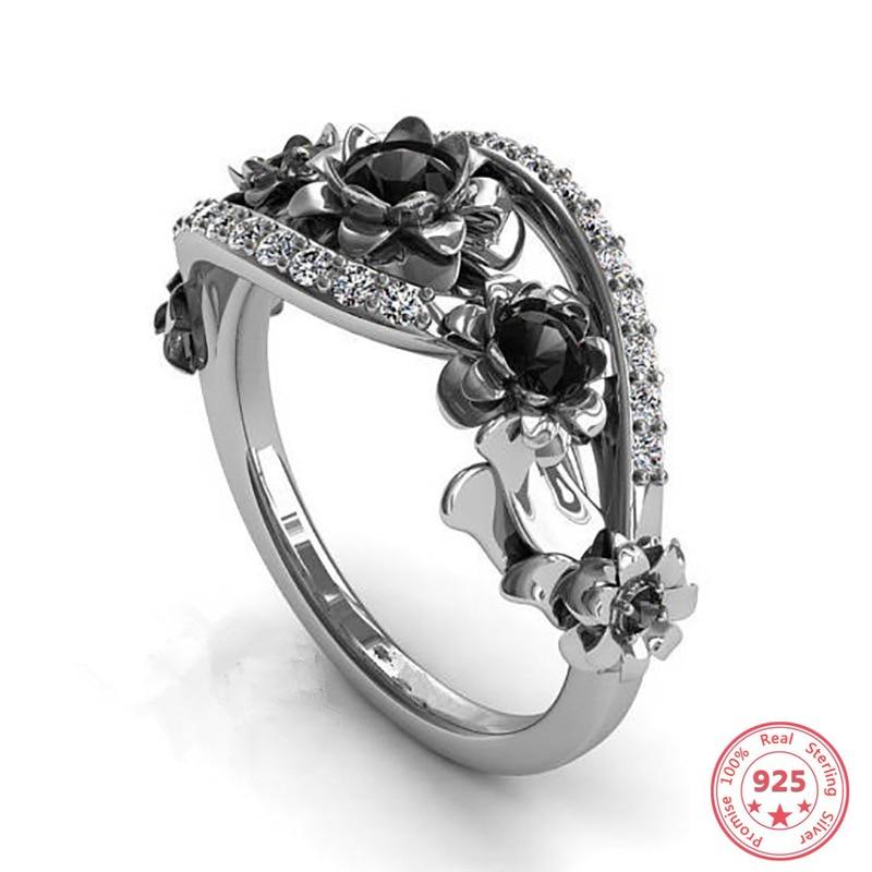 Women/'s Fashion Two Tone 925 Silver Peridot Flower Ring Wedding Band Jewelry