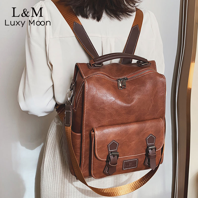 Pu Leather Backpack Women Fashion Rugzak College School Bag Backpacks Vintage Large Capacity Double Shoulder Bag Mochila XA625H