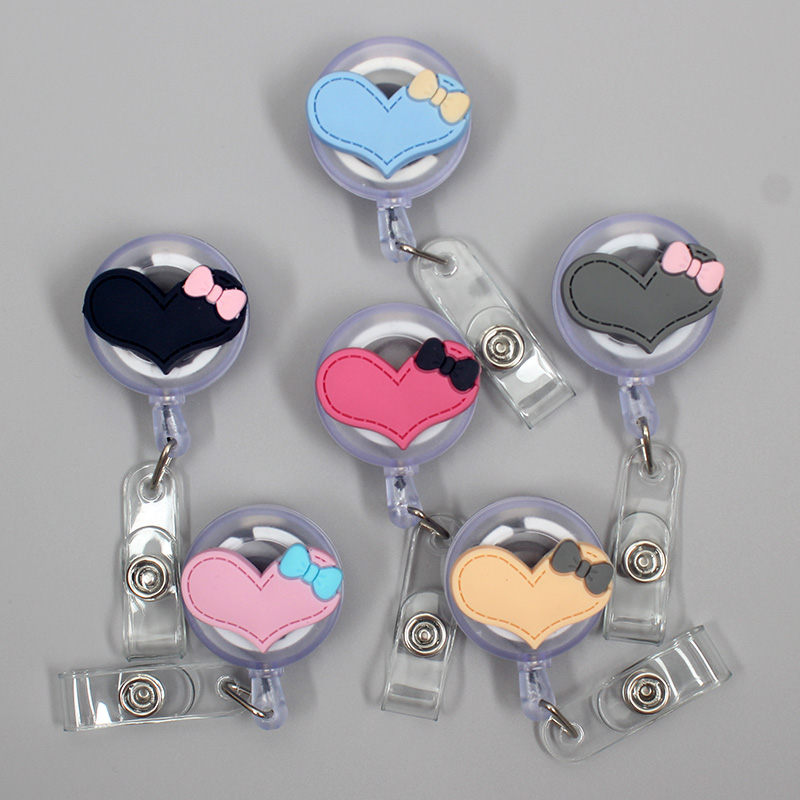 Silicone Big Size Loving Heart With Bowknot Retractable Badge Reel Students & Nurse Exhibition Enfermera Name Card ID Card Chest