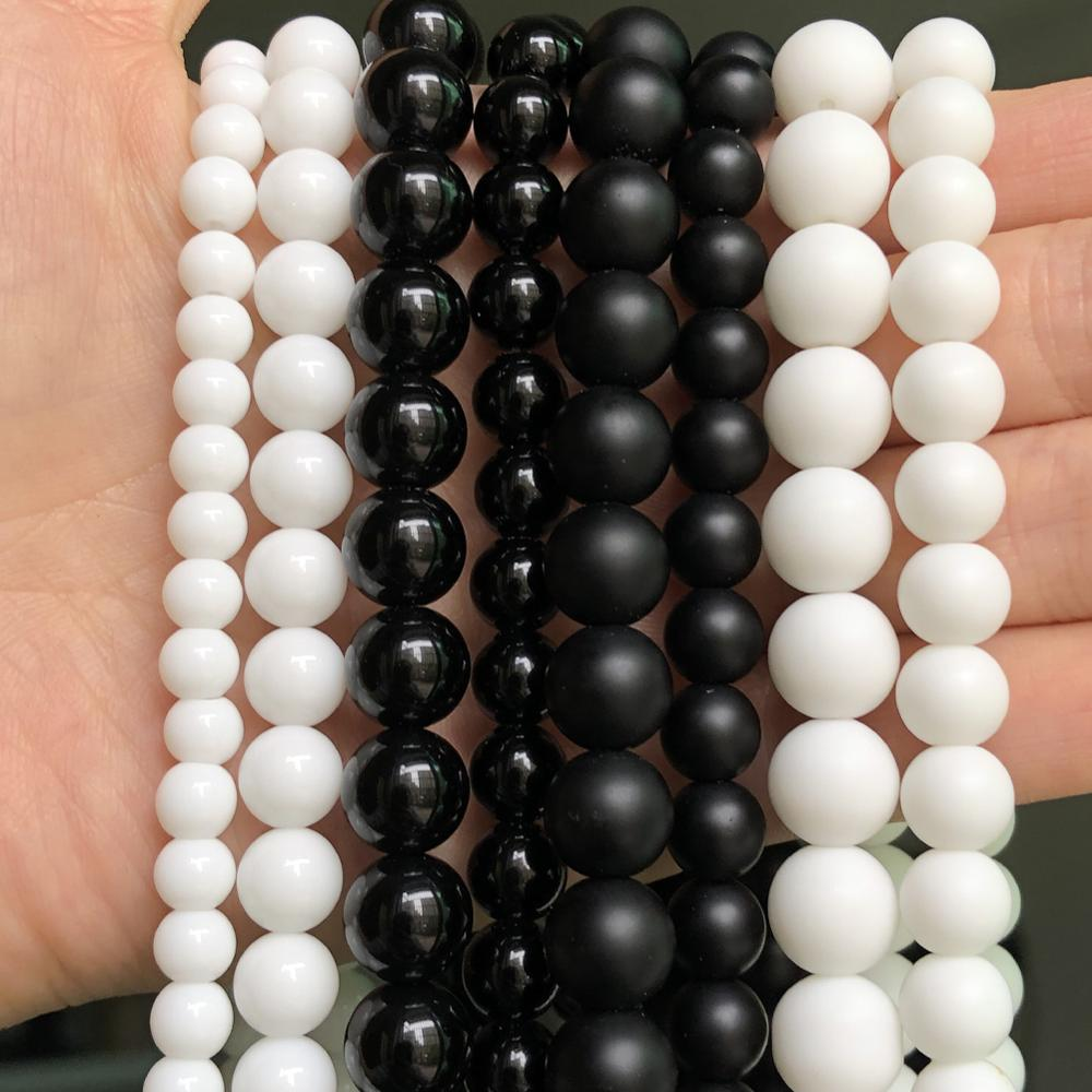 """Wholesale Natural Stone Black White Matte Dull Polish Onyx Agates Round Beads For Jewelry Making DIY Bracelet Charms 4-12mm 15"""""""