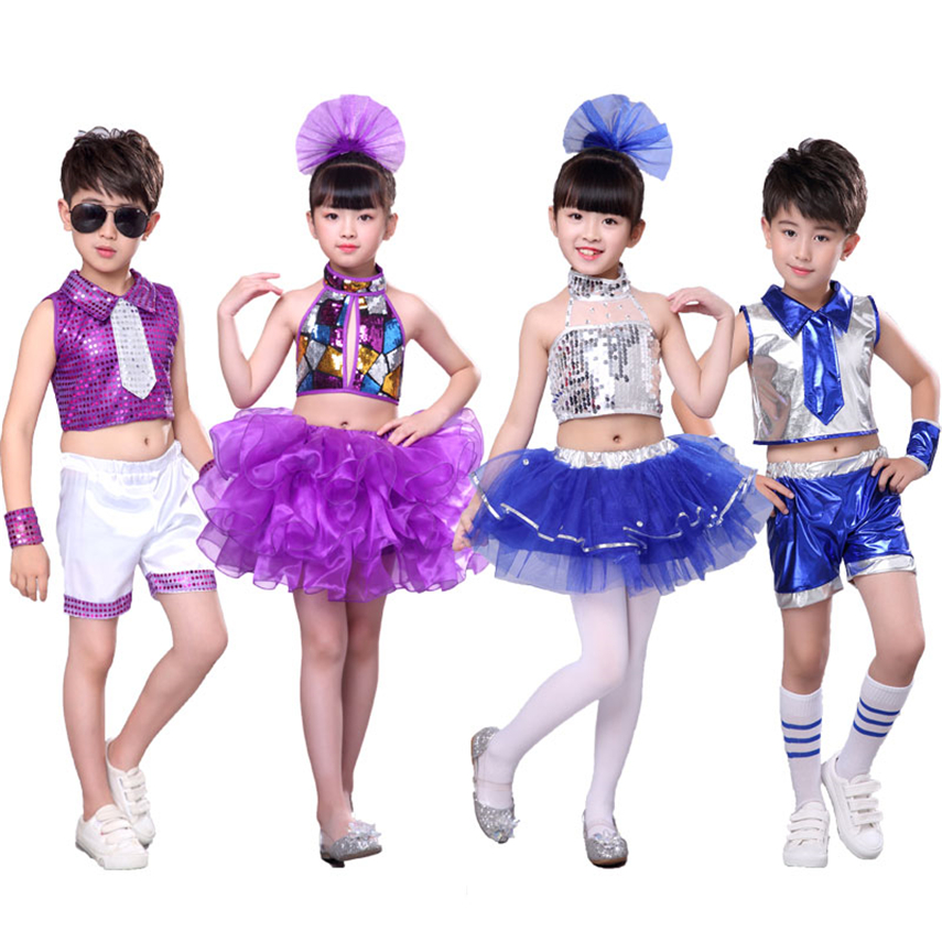 Kids Girls Top Jazz Dance Wear Costumes Sequins Holographic Cheerleader Hiphop Stage Performance Clothing Outfit Set