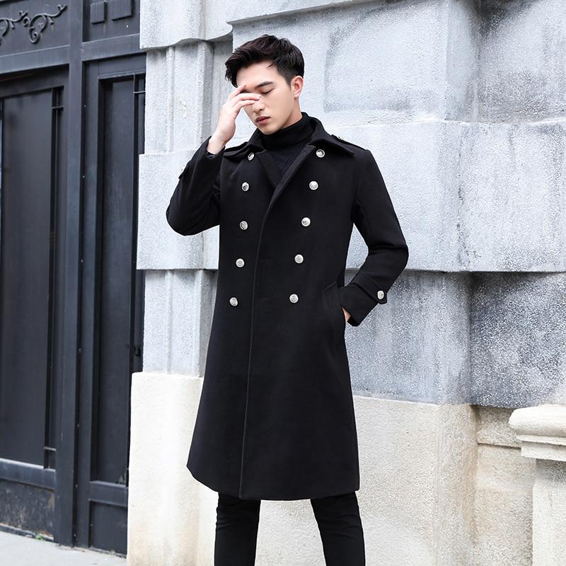 2019 Autumn Winter Fashion Military Uniform Long Black   Trench   Coat Men Fashion Pocket Decoration Double-breasted Woolen Coat Men