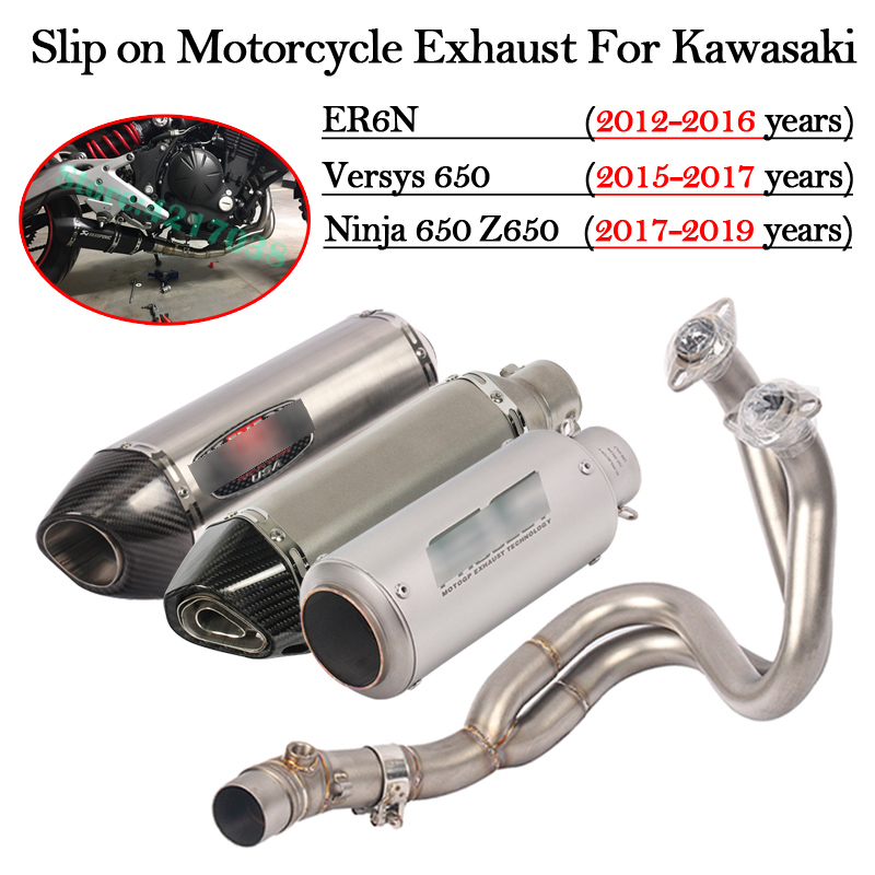 Slip on Motorcycle <font><b>Exhaust</b></font> Modified Motorbike Escape DB Killer Front Mid Link Pipe For Kawasaki ER6N Versys 650 <font><b>Z650</b></font> Ninja 650 image