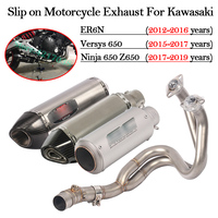 Slip on Motorcycle Exhaust Modified Motorbike Escape DB Killer Front Mid Link Pipe For Kawasaki ER6N Versys 650 Z650 Ninja 650