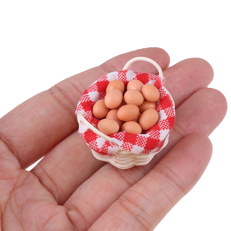 New 1:12 Miniature Eggs With Bamboo Basket Dollhouse Accessories For Kitchen Farm Baby Kids DIY Toys