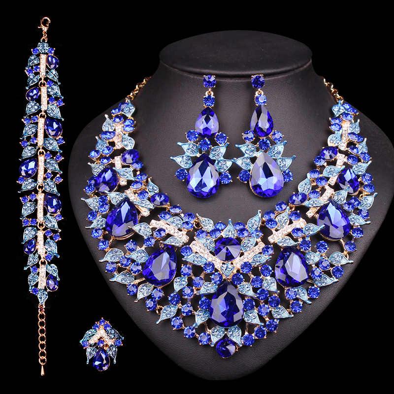 Luxus Blätter Halskette Ohrringe Set Schmuck Sets Party Hochzeit Prom Indische Braut Kostüm Schmuck Trendy Geschenke für Braut Frauen