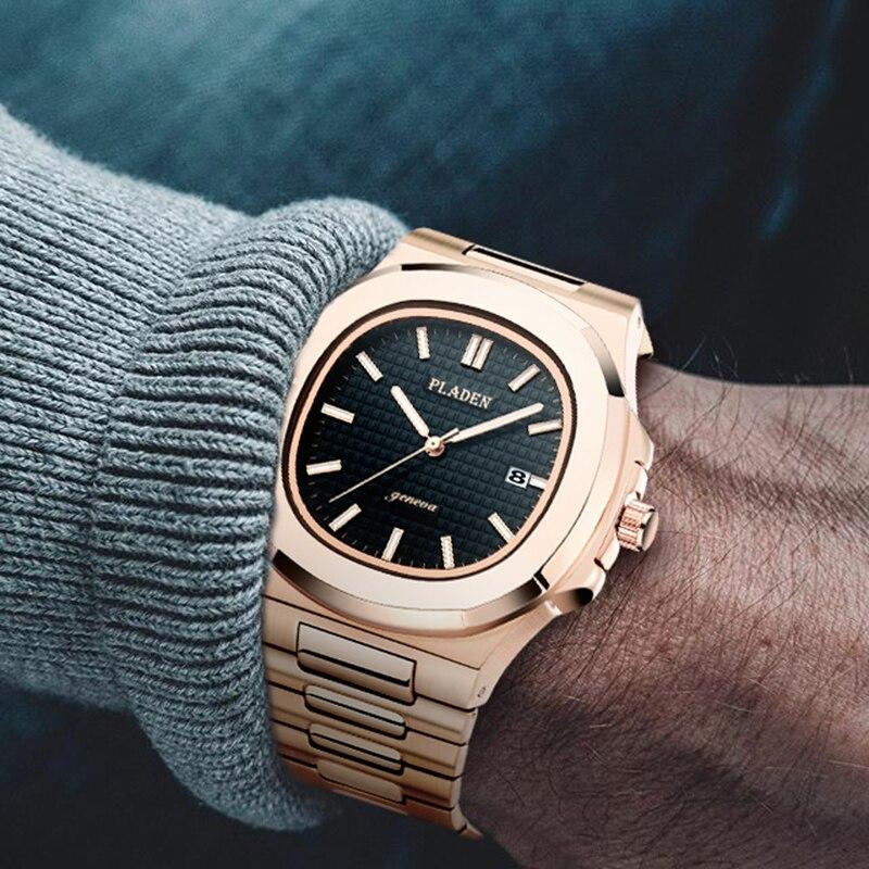 Rose Gold Patek Watch PLADEN Mens Watches Top Brand Luxury Analog Quartz Watch Fashion PP Watch Men Full Steel Male Wristwatch