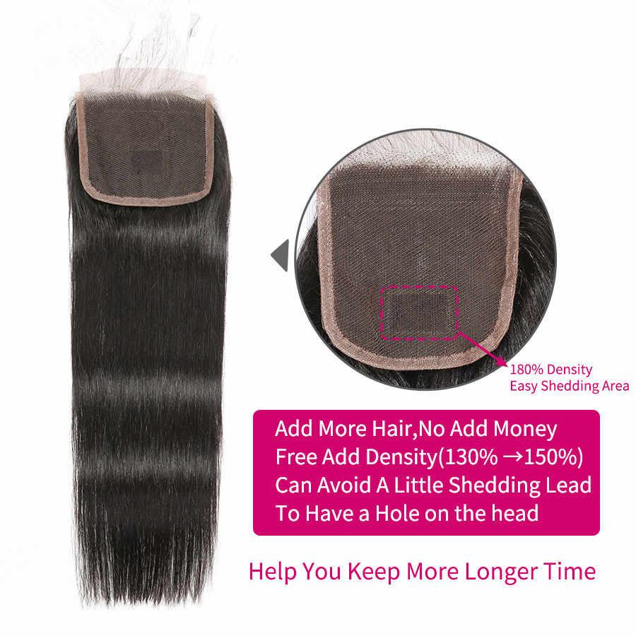 6x6 Schließung Und Bundles 30 Zoll Gerade Haar Bundles Mit Verschluss WOWQUEEN Brasilianische Haar Remy Menschliches Haar Bundles mit Verschluss