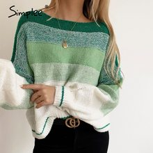 Simplee autumn winter 2020 stripe women sweater oversize knitwear pullovers sweaters green casual female knitted sweater jumper