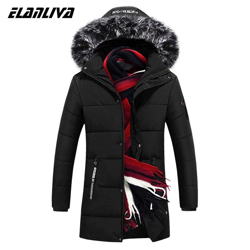 Размера плюс M ~ 5XL,6XL ,7XL ,8XL Новый пуховик мужской однотонный Цвет меховой воротник с капюшоном Длинная парка для мужчин зимнее теплое пальто