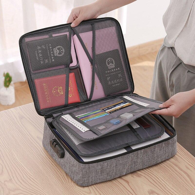 Password Open Classify Document Storage Travel Bag Briefcase Men's Bag Multilayer Certificate Document Passport Travel Briefcase