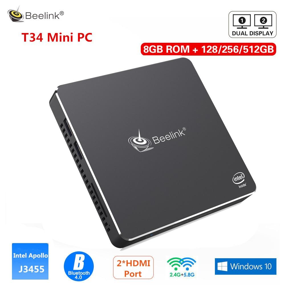 Beelink Gemini T34 Mini PC Intel Apollo Lake J3455 Windows10 8GB 128/256/512 GB Dual Screen Display 2.4G/5.8G WiFi BT4.0