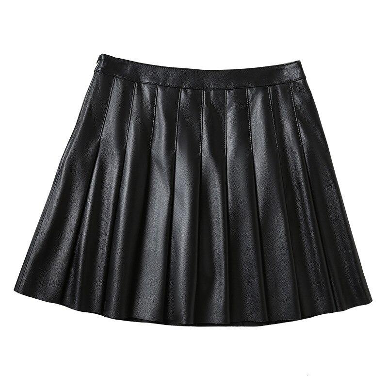 Плиссированная юбка из натуральной кожи, Женская мини юбка с высокой талией, модная школьная форма из натуральной овчины, Женская теннисная