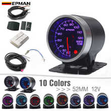 """EPMAN 2 """"52 มม.10 สีLED Backlightsควันน้ำเครื่องวัดอุณหภูมิอุณหภูมิน้ำWเซ็นเซอร์podผู้ถือEPXX702"""