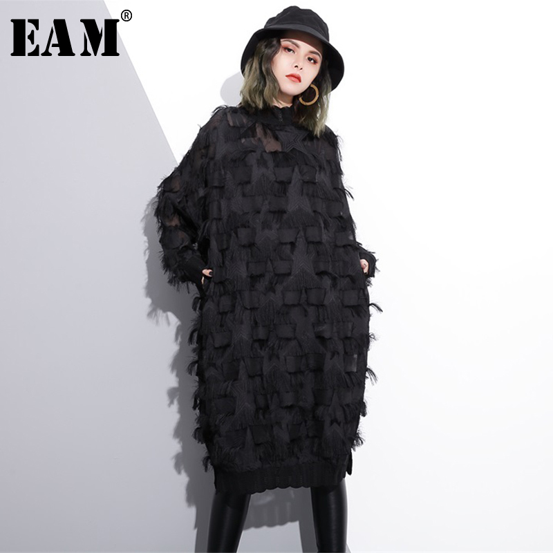 [EAM] 2020 New Autumn Winter Stand Collar Long Sleeve Perspective Black Loose Tassels Big Size Dress Women Fashion Tide JI780