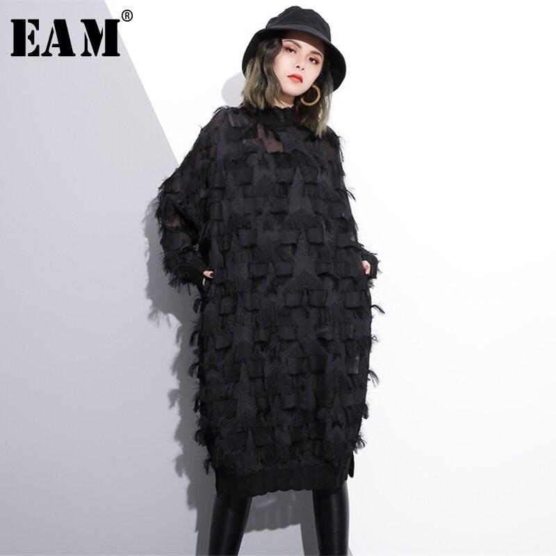 [EAM] 2021 Neue Frühling Herbst Stehkragen Langarm Perspektive Schwarz Lose Quasten Big Größe Kleid Frauen Mode flut JI780