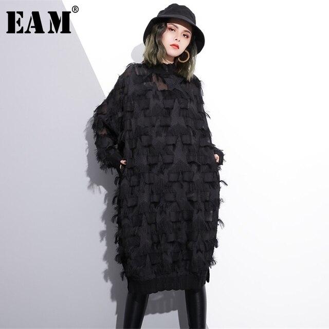 [EAM] 2020 Nuovo di Autunno della Molla Del Collare Del Basamento Manica Lunga Prospettiva Nero Allentato Nappe Grande Vestito Da Formato di Modo Delle Donne marea JI780