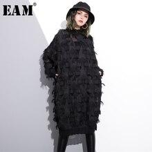 [EAM] 2020 חדש אביב סתיו צווארון עומד ארוך שרוול פרספקטיבת שחור רופף גדילים גדול גודל שמלת נשים אופנה גאות JI780