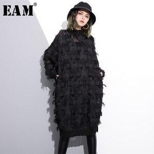 Image 1 - [EAM] 2020 חדש אביב סתיו צווארון עומד ארוך שרוול פרספקטיבת שחור רופף גדילים גדול גודל שמלת נשים אופנה גאות JI780