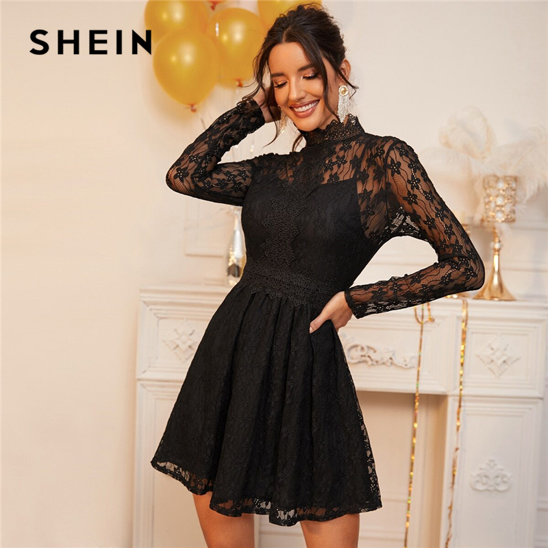 SHEIN Black Stand Collar Sheer Lace Glamorous Overlay Dress Women Spring High Waist Long Sleeve Flared Ladies Party Dresses