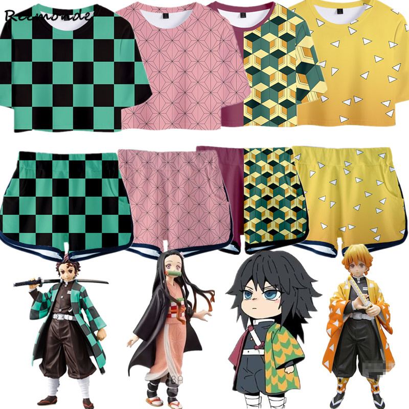 Outfit Demon Slayer Kimetsu No Yaiba Costume Women Top Shorts Sport Suits Kamado Nezuko Running Shorts Shirt Girls Set Cosplay