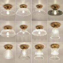Современный стеклянный потолочный светильник скандинавского Ретро латунного потолочного освещения, креативное освещение для крыльца, балкона, коридора
