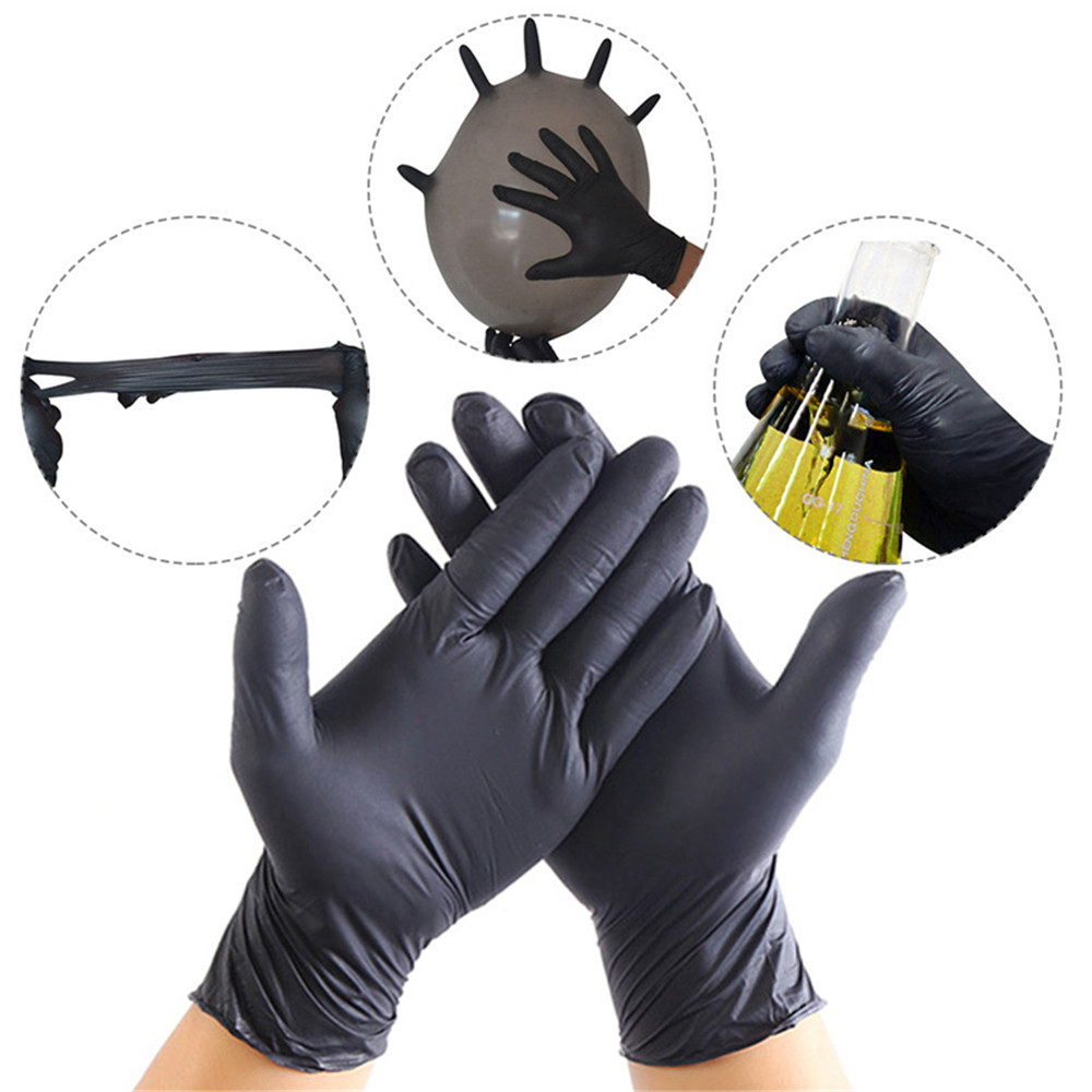 100PCS Rubber Gloves Disposable Black Nitrile Gloves Waterproof Latex Gloves Ambidextrous For Medical House Clean Tattoo