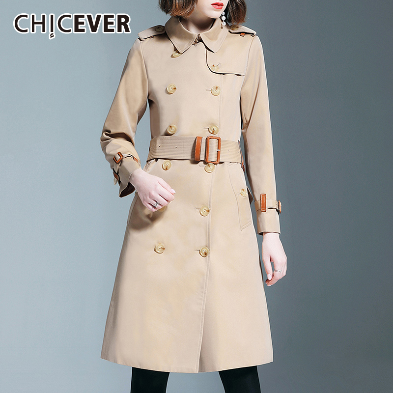 CHICEVER Korean Slim Women's Windbreaker Lapel Collar Long Sleeves High Waist With Sashes Casual   Trench   Coat Female 2019 Autumn