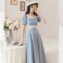 COIGARSAM French Style Women dress Vintage Puff Sleeve