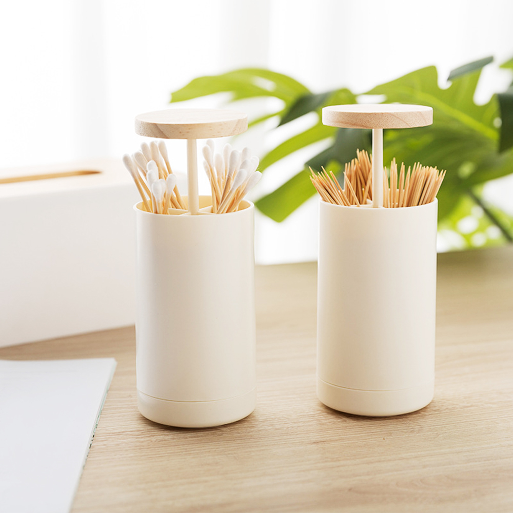 Simple Nordic Style Creative Automatic Wooden Plastic Toothpick Holders Toothpick Stand Toothpick Cotton Swab Holder Storage Box(China)