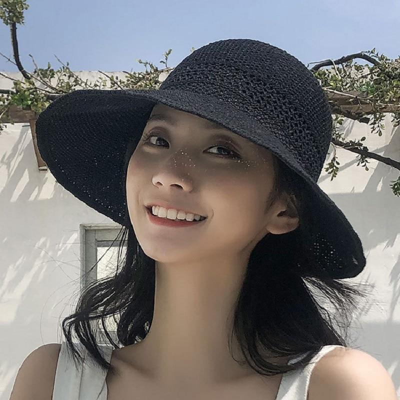 Women Summer Visors Hat Foldable Sun Hat Wide Large Brim Beach Hats Straw Hat Chapeau Femme Beach UV Protection Cap
