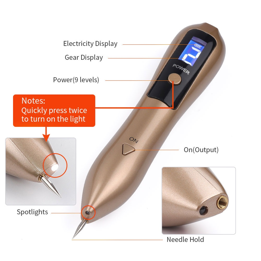 Laser-plasma beauty pen with the power button and small screen used to remove moles, dark spots, and the tattoo on the face
