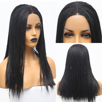 RONGDUOYI Black High Temperature Fiber Synthetic Hair Wigs for Women Full Hand Made 2x Twist Braids Lace Front Wig Middle Part