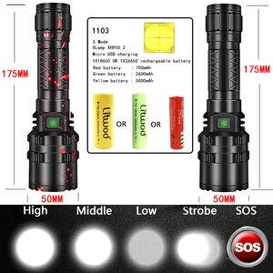 Image 2 - Litwod lampe torche de chasse 3800 Lumens, lumière LED puissante, lampe tactique Rechargeable, lampe torche de reconnaissance étanche, 5 Modes, 18650/26650