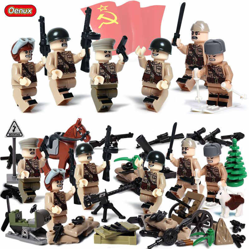 Oenux WW2 سلسلة البسيطة العسكرية الجنود أرقام بناء كتلة الحرب العالمية 2 USA السوفياتي البريطانية الجيش العسكرية Legoings ألعاب مكعبات