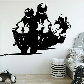 Pegatinas deportivas para pared de motos de carreras de motos de vinilo para decoración de la pared del dormitorio póster X343