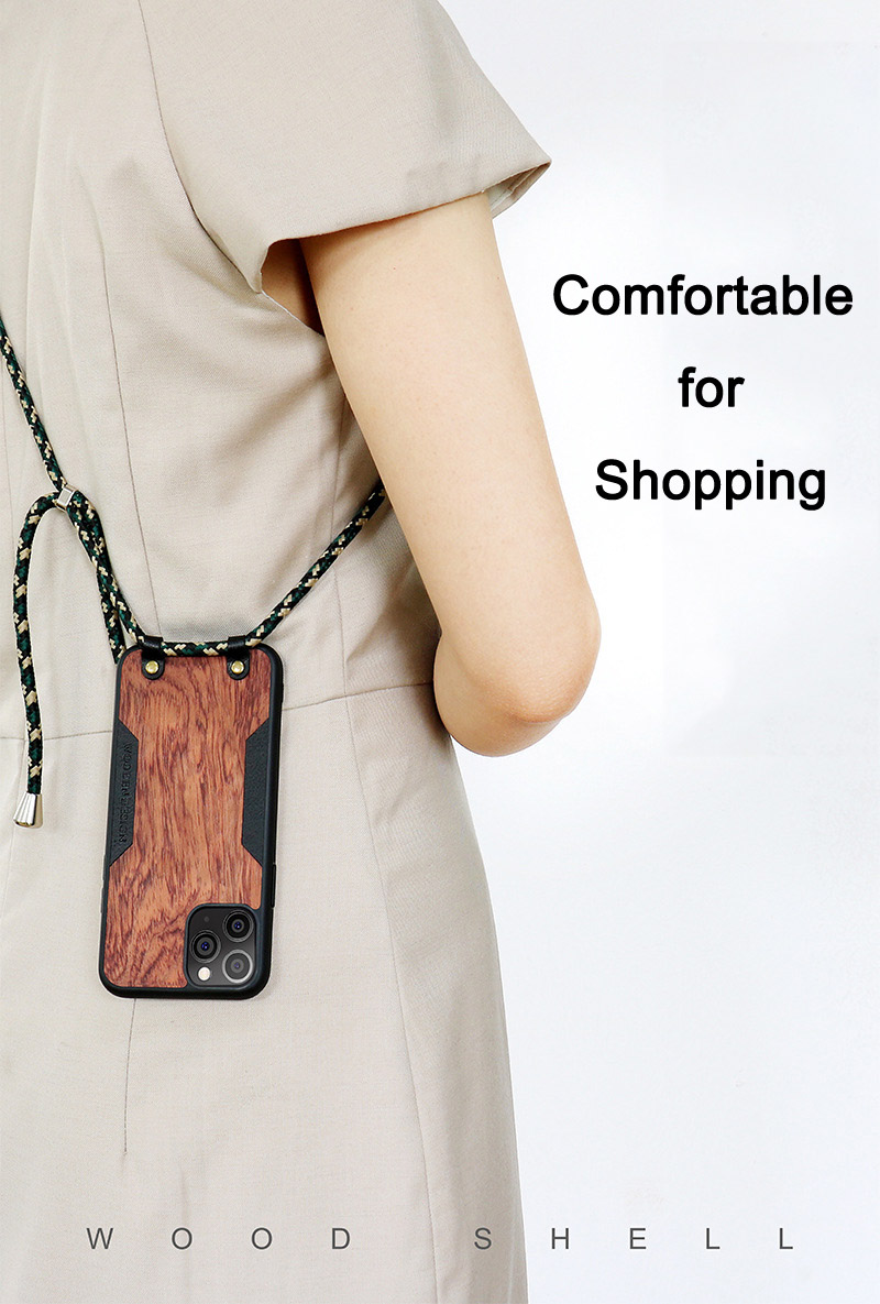 Solid Wood Crossbody Shoulder Strap Full Cover Lanyard Wooden Case for iPhone 12 Mini
