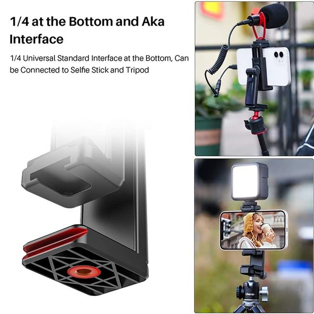 "Ulanzi st-22 360° adjustable phone holder vertical horizontal phone mount clamp cold shoe 1/4"" tripod adapter bracket for phone"