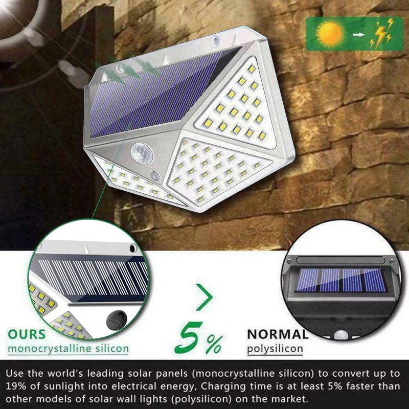 PIR Motion Sensor Solar Outdoor Light with 114 to 100 LED and Lithium Battery Powered by Sunlight 2