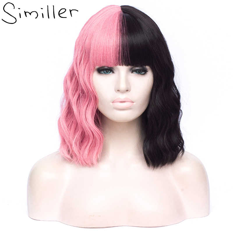 Similler Natural Wave Synthetic Hair Women Short Ombre Wigs with Bangs Black Pink Red Orange Green Multicolor Heat Resistance