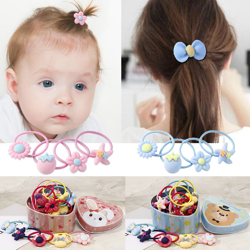 20pcs/Lot Girls Cute Elastic Hair Bands With Gift Box Scrunchies Rubber Bands Cartoon Candy Headwear Headbands Hair Accessories