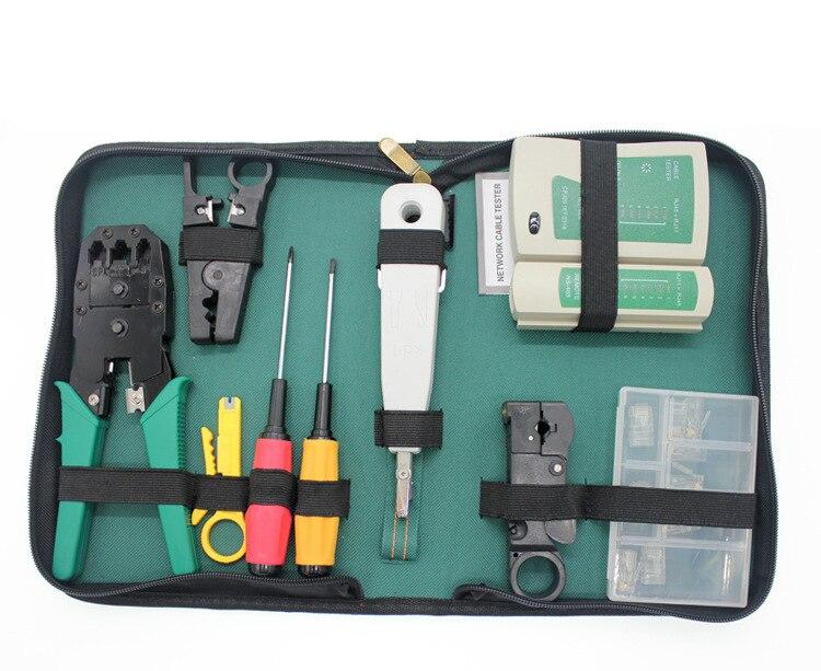 Kit d'outils de combinaison de réseau informatique de 11 pièces/ensemble ensemble testeur de câble Ethernet outil de sertissage tournevis de fil Kit d'outils de réseau manuel