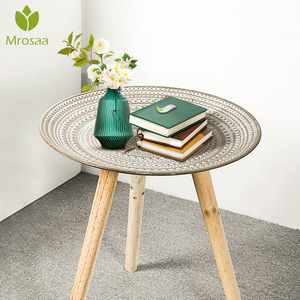 Creative Round Nordic Wood Coffee Table Bed Sofa Side Table Tea Fruit Snack Service Plate Tray Small Desk Living Room Furniture