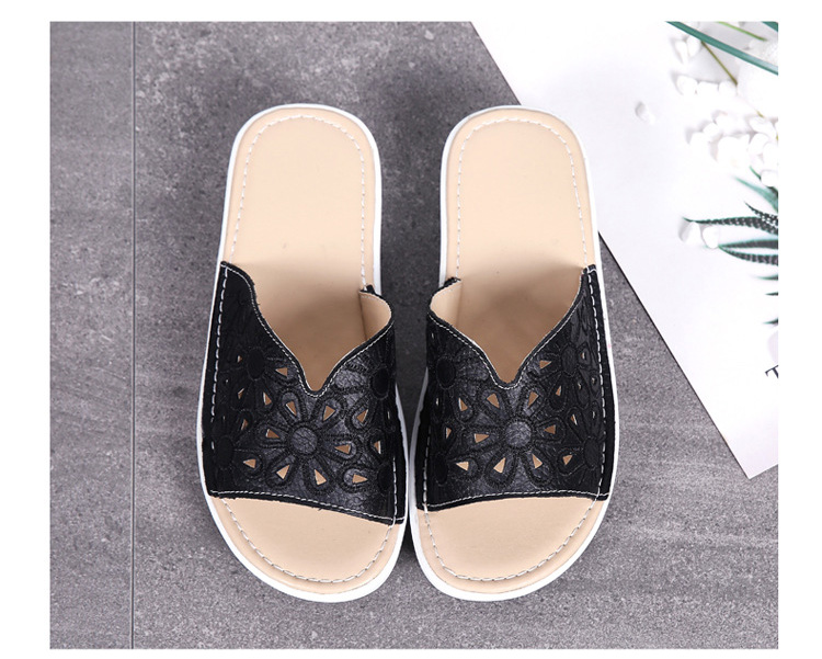 AH 1975-2020 Genuine Leather Womens Flat Slides Casual Hollows Summer Beach Flip Flops-4
