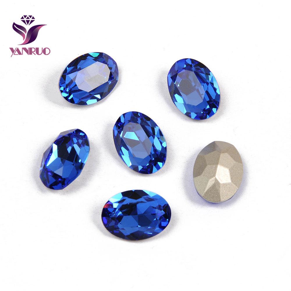 YANRUO 4120 Oval Sapphire Fancy Glass Beads Diamond Sewing Rhinestones Glass DIY Base Ornaments Claw Setting