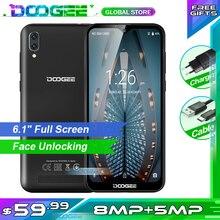 """Doogee x90 telefone móvel 6.1 """"hd waterdrop tela 1gb ram 16gb rom 3400mah mt6580a/wa quad core face id android 8.1 smartphone"""