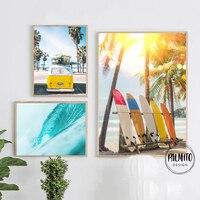 Amarillo playa pared arte Digital Surf océano moderno surf impresiones mar Palm árbol tablas de Surf cartel cuadro sobre lienzo para pared Decoración