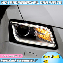 car accessories for Audi Q5 Headlights 2008-2012 2013-2015 Q5 LED Headlight DRL Lens Double Beam H7 D2H HID Xenon bi xenon lens free shipping for china vland car head lamp for lancer led headlight with a5 style drl h7 xenon lamp 2008 2012 2015